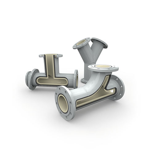 Pipes, elbows, and reducers (system solutions) with ceramic lining